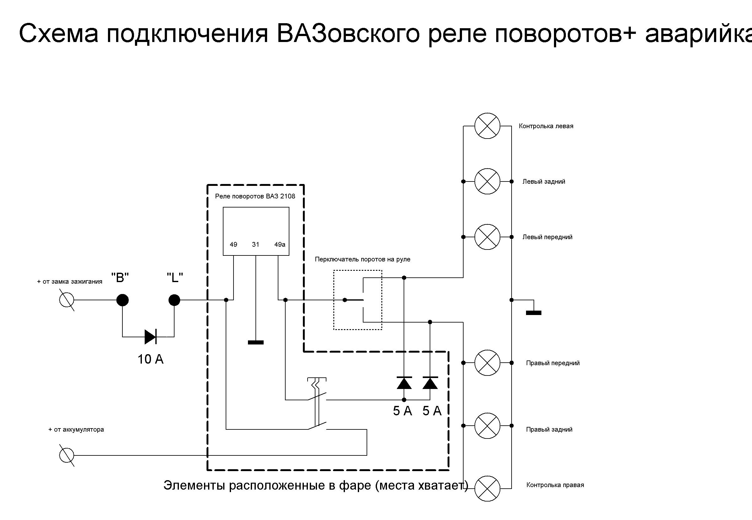 реле поворотов и схема подключения